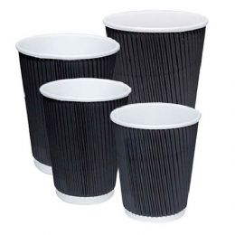 8oz Black Ripple Coffee Cups with Lids